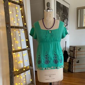 Turquoise, embroidered, boho top